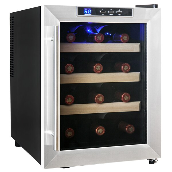 AKDY 12 Bottles Double Pane Quiet Freestanding Single Zone Stainless Steel Wine Cooler Cellar Chiller