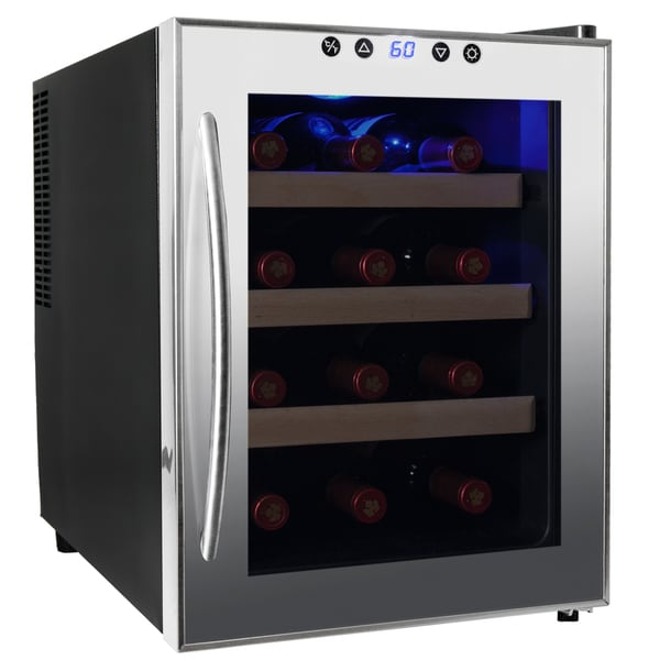 AKDY 12-Bottles Double Paned Quiet Freestanding Single Zone Stainless Steel Thermoelectric Wine Cooler Chiller Cellar