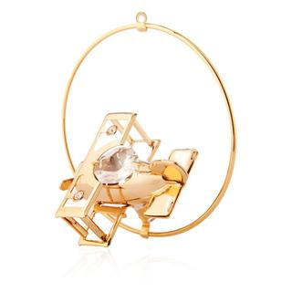 Matashi 24k Goldplated Genuine Crystals Aero Plane Ornament