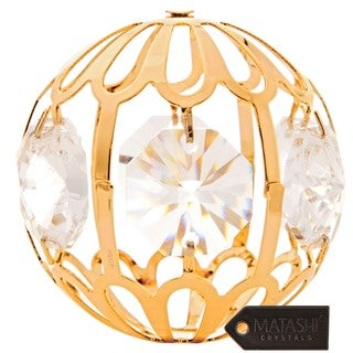 Matashi 24k Goldplated Genuine Crystals Beautiful Crystal Ball Ornament