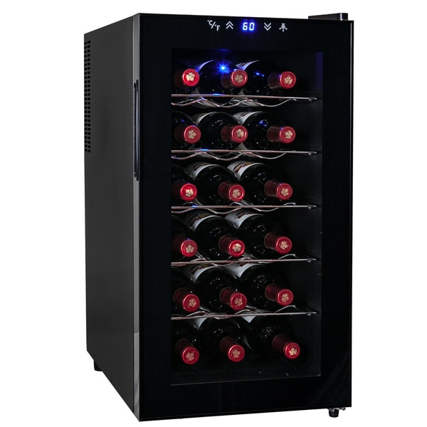 AKDY 18 Bottles Adjustable Temperature Freestanding Single Zone Quiet Stainless Steel Wine Cooler Cellar Chiller Thermoelectric