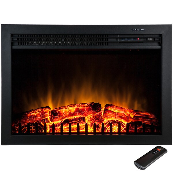 AKDY 23-inch Freestanding 5200 BTU 1500W Adjustable Tempered Glass Electric Fireplace Heater Stove w/ Remote