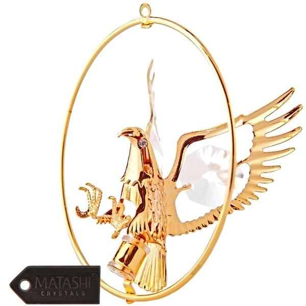 Matashi 24k Goldplated Genuine Crystals Eagle Ornament in a Hoop