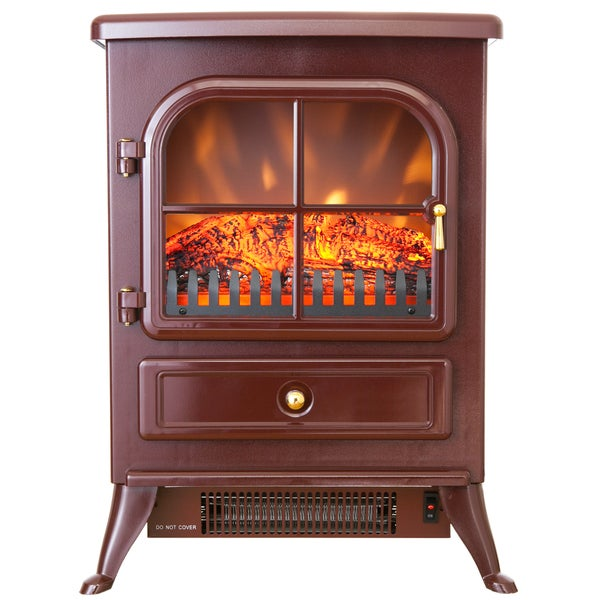 AKDY 15-inch Red 1500W 5200 BTU Adjustable 2 Setting Tempered Glass Electric Fireplace Heater Stove