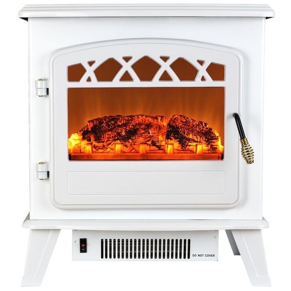 AKDY 20-inch Wite Freestanding 1500W Adjustable 2 Setting 5200 BTU Freestanding Electric Fireplace Heater Stove