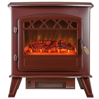 AKDY 20-inch Red Freestanding 1500W Adjustable 5200 BTU Tempered Glass 2 Setting Electric Fireplace Portable Stove