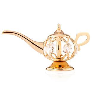 Matashi 24k Goldplated Genuine Crystals Highly Polished Aladdin Lamp Ornament
