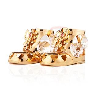 Matashi 24k Goldplated Genuine Crystals Girl Baby Booties Ornament