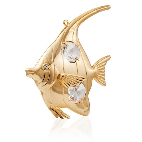 Matashi 24k Goldplated Genuine Crystals Highly Polished Angel Fish Ornament