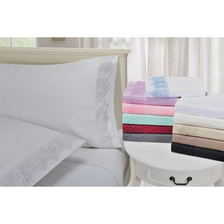 Wrinkle Resistant Embroidered Regal Lace Pillowcases (Set of 2)