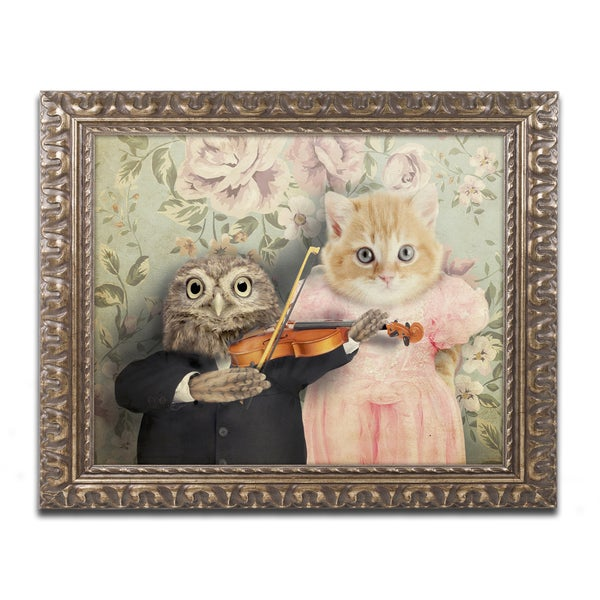 J Hovenstine Studios 'The Owl And The Pussycat' Gold Ornate Framed Canvas Wall Art