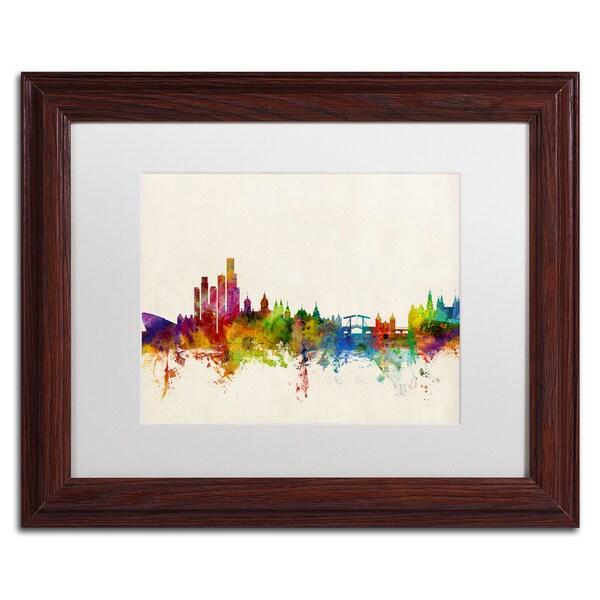 Michael Tompsett 'Amsterdam The Netherlands Skyline' White Matte, Wood Framed Canvas Wall Art