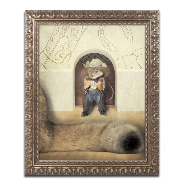 J Hovenstine Studios 'New Mouse In Town' Gold Ornate Framed Canvas Wall Art