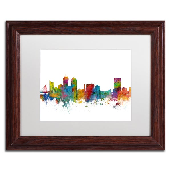 Michael Tompsett 'Wichita Kansas Skyline' White Matte, Wood Framed Canvas Wall Art