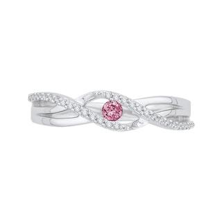 10k White Gold 1/5ct TDW Pink and White Diamond Ring