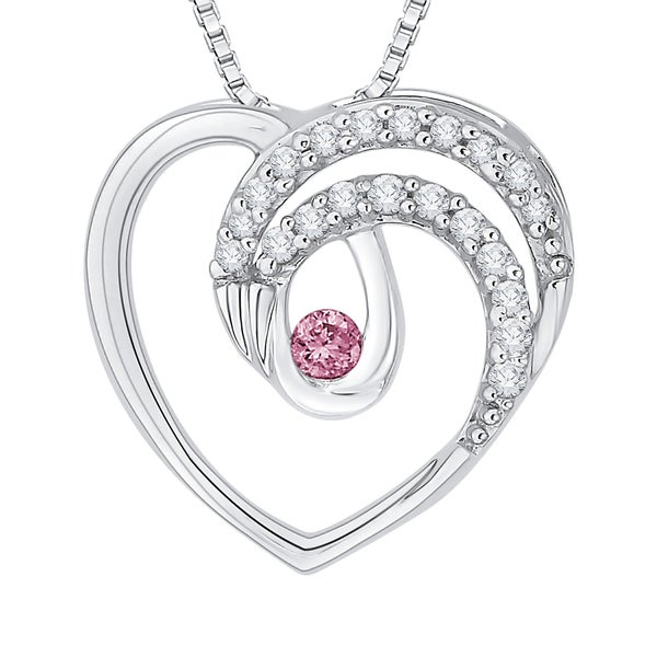 10k White Gold 1/8ct TDW Pink and White Diamond Heart Pendant (G-H,I2-I3)