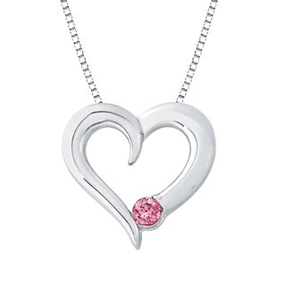 Sterling Silver Pink Diamond Heart Pendant