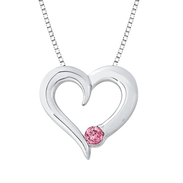 Sterling Silver Pink Diamond Heart Pendant