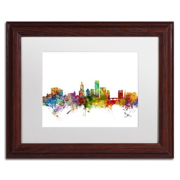 Michael Tompsett 'Providence Rhode Island Skyline' White Matte, Wood Framed Canvas Wall Art