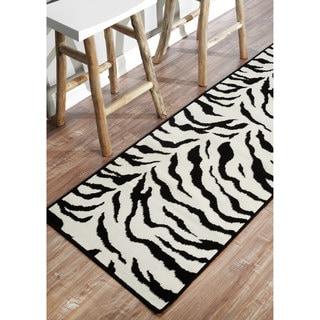 nuLOOM Zebra Animal Print Black Runner Rug (2'8 x 7'11)