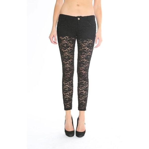 Siwy Women's 'Hannah' Black Lace Skinny Crop Jeans