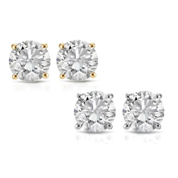 14k White or Yellow Gold 1/2ct TDW Diamond Studs (I-J, I2-I3)