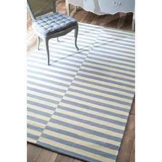 nuLOOM Handmade Modern Stripes New Zealand/ Indian Wool Dusk Blue Rug (8'6 x 11'6)