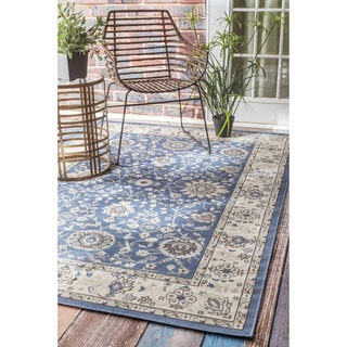 nuLOOM Traditional Modern Indoor/ Outdoor Blue Porch Rug (4' x 6')