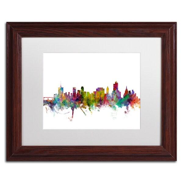 Michael Tompsett 'Tulsa Oklahoma Skyline' White Matte, Wood Framed Canvas Wall Art