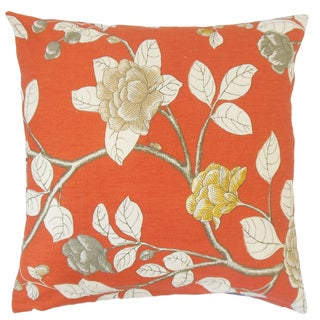 Pallavi Floral Orange 18-inch Feather and Down Filled Throw Pillow