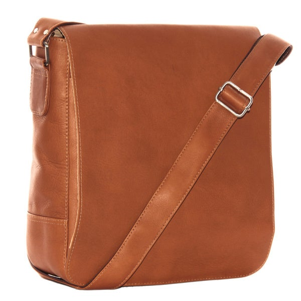 Piel Leather Small Tablet Vertical Messenger Bag