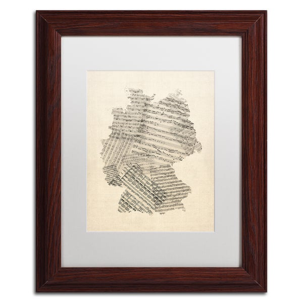 Michael Tompsett 'Old Sheet Music Map of Germany' White Matte, Wood Framed Canvas Wall Art