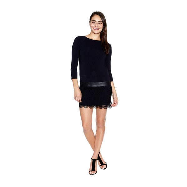 Bailey44 Women's Sweet Jane Dress with Leather and Lace Detailing