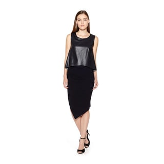 Bailey44 Women's Birds Of Paradise Black Dress with Faux Leather Popover