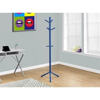 Coat Rack - 69 Inches High / Blue Wood Contemporary Style