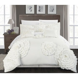 Chic Home 11-piece Buxton White Oversized Comforter Set