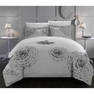 Chic Home 7-Piece Marissa Silver Floral and Rose Applique Duvet Cover Set