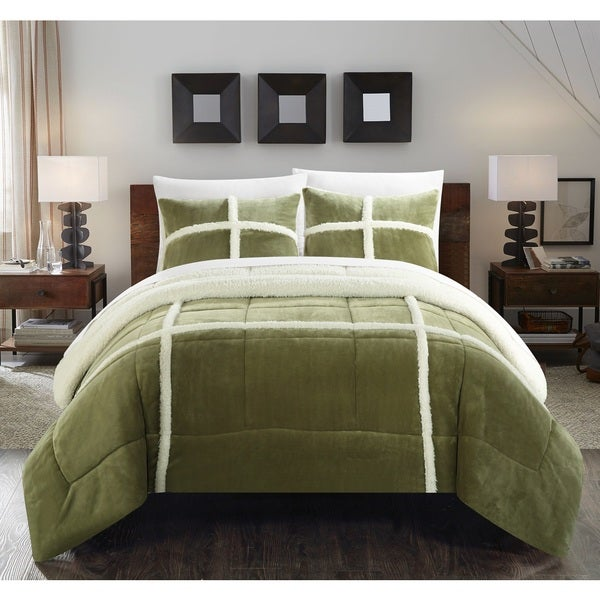 Chic Home Green Chiron Mink Sherpa-lined 7-piece Comforter Set