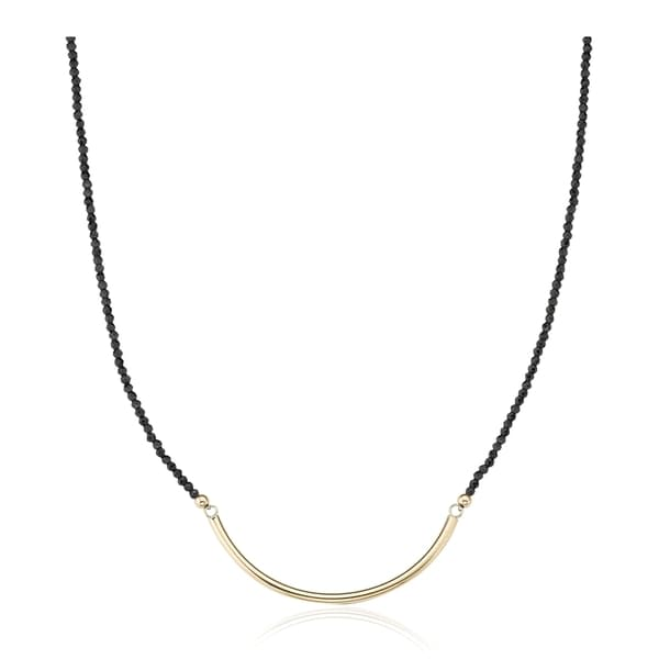 14k Yellow Gold Black Spinel with Large Crescent Necklace
