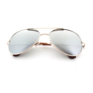 Epic Eyewear Classic Gold Sport Frame Aviator Reflective Mirrored Lens Sunglasses