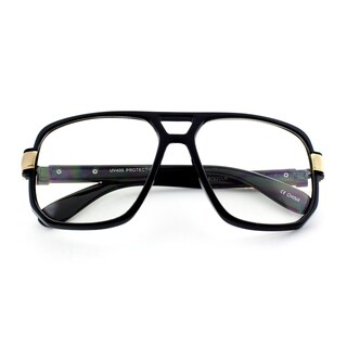 Epic Eyewear Run DMC-Style Square Frame Plastic Clear Lens Aviator Glasses