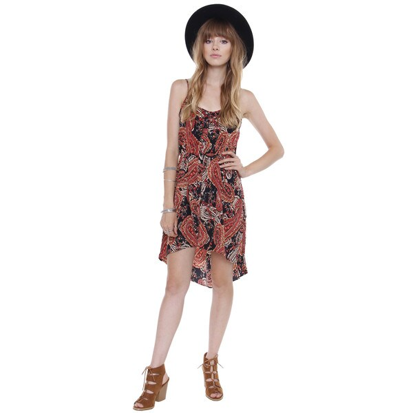 Juniors' Hi-Lo Woven Paisley Dress