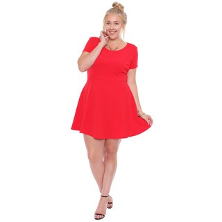 Women's Plus Size Red Short Sleeved Skater Dress
