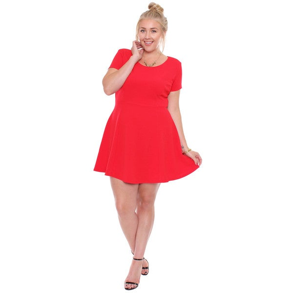 Plus Size Red Short Sleeved Skater Dress