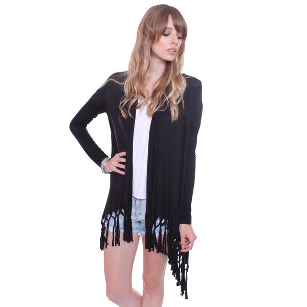 Heart & Hips Women's Handmade Fashionable Fringe Cardigan