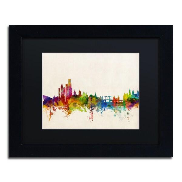 Michael Tompsett 'Amsterdam The Netherlands Skyline' Black Matte, Black Framed Canvas Wall Art