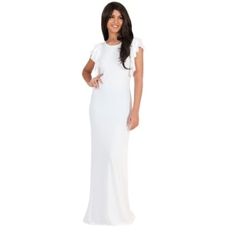 Koh Koh Women's Round Neck Ruffled Cap Sleeve Maxi Dress