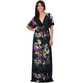 Koh Koh Women's Kimono Sleeve V-Neck Versatile Floral Print Maxi Dress