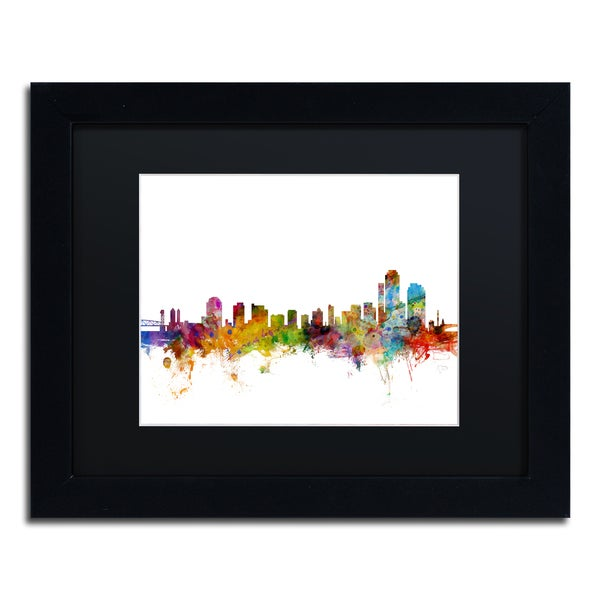 Michael Tompsett 'Wilmington Delaware Skyline' Black Matte, Black Framed Canvas Wall Art