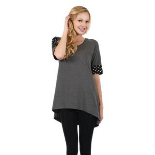 Firmiana Women's 3/4-Length Sleeve Grey Tunic